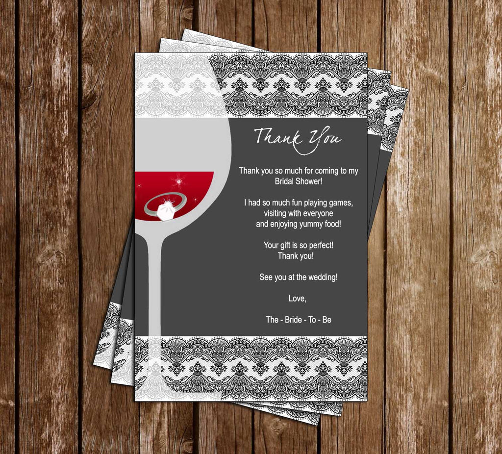 Wine Glass - Bridal Shower - Invitation Thank You Card
