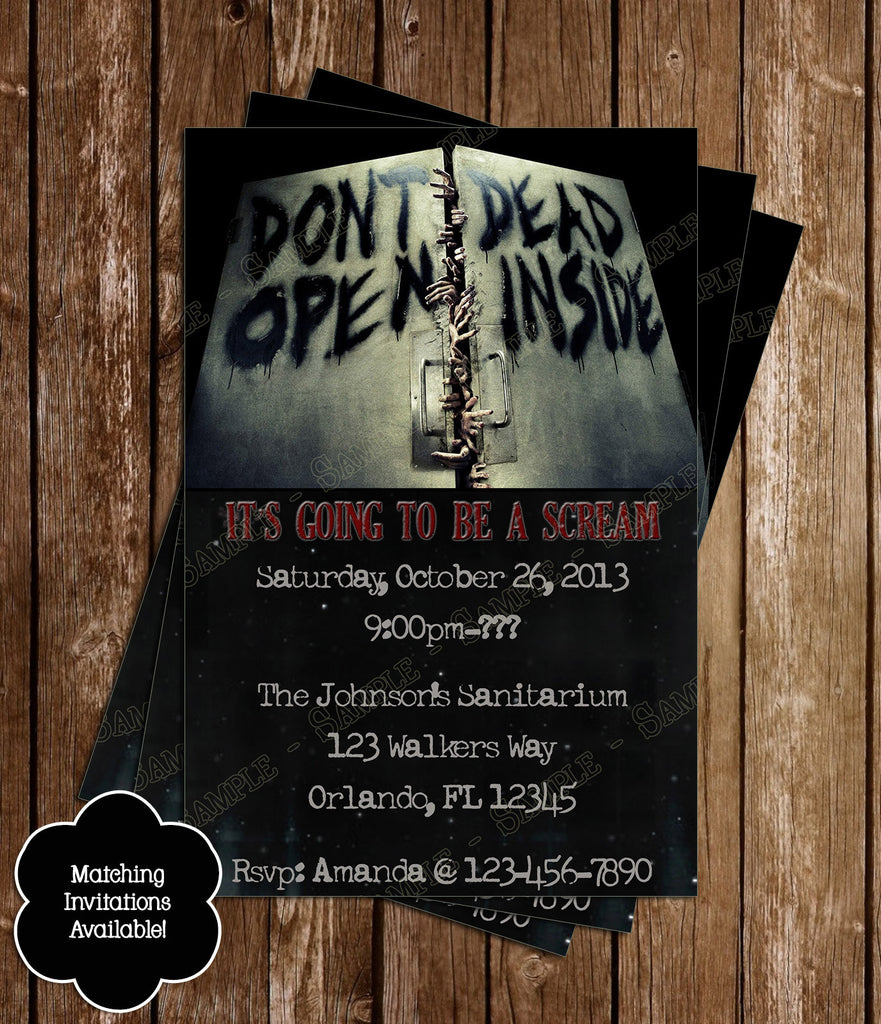 novel concept designs - walking dead show zombie birthday party, Birthday invitations