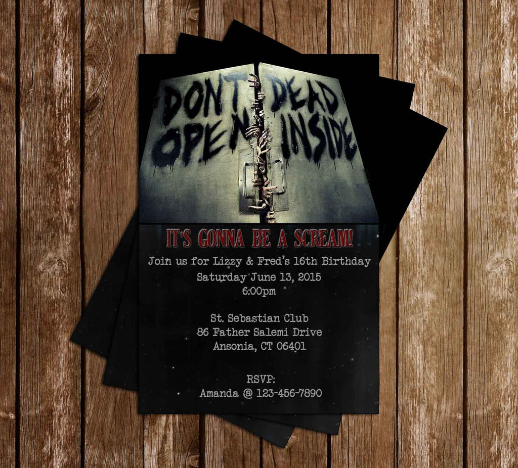 Walking Dead Show Birthday Party Invitation