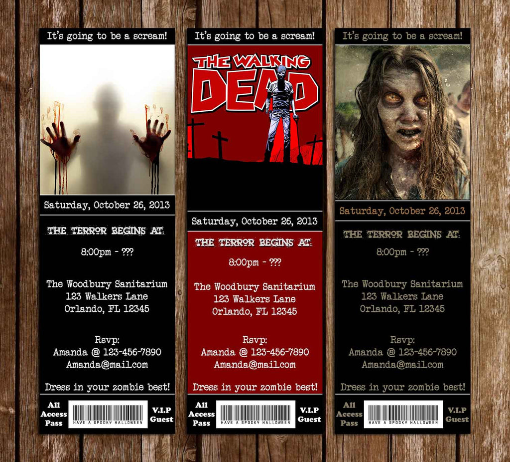 Walking Dead Show Birthday Ticket Party Invitation