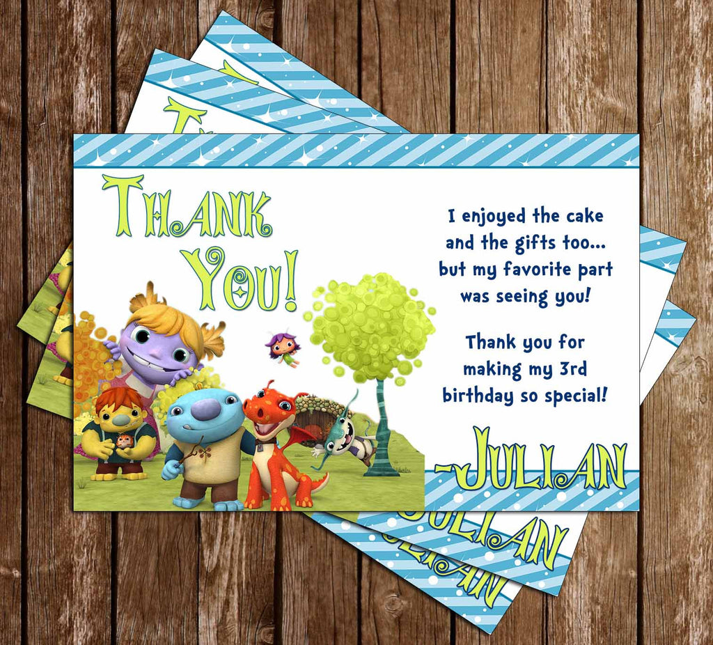 Disney Wallykazam Show Birthday Party Thank You Card