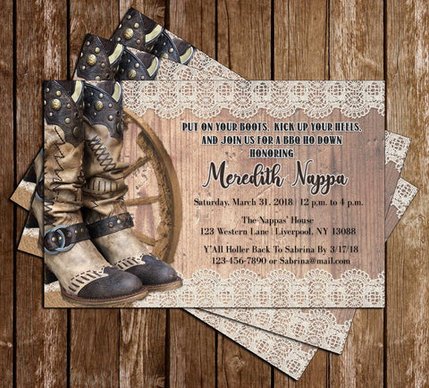 Western - Cowboy Boots - Bridal Shower - Invitation