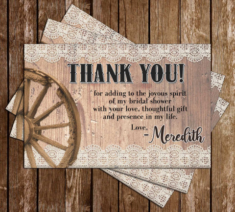Western - Cowboy Boots - Bridal Shower - Thank You Card