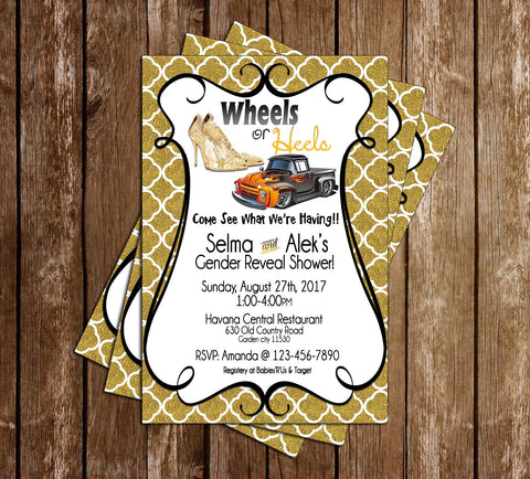 Wheels or Heels - Gold - Gender Reveal - Baby Shower Invitation