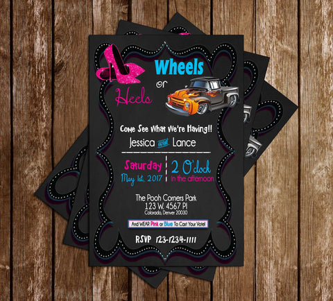 Wheels or Heels? - Gender Reveal - Baby Shower Invitation
