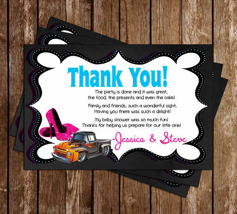 Wheels or Heels - Gender Reveal - Baby Shower Thank You Card