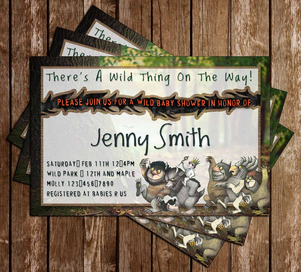 Where the Wild Things Are - Baby Wild Thing - Baby Shower - Invitations