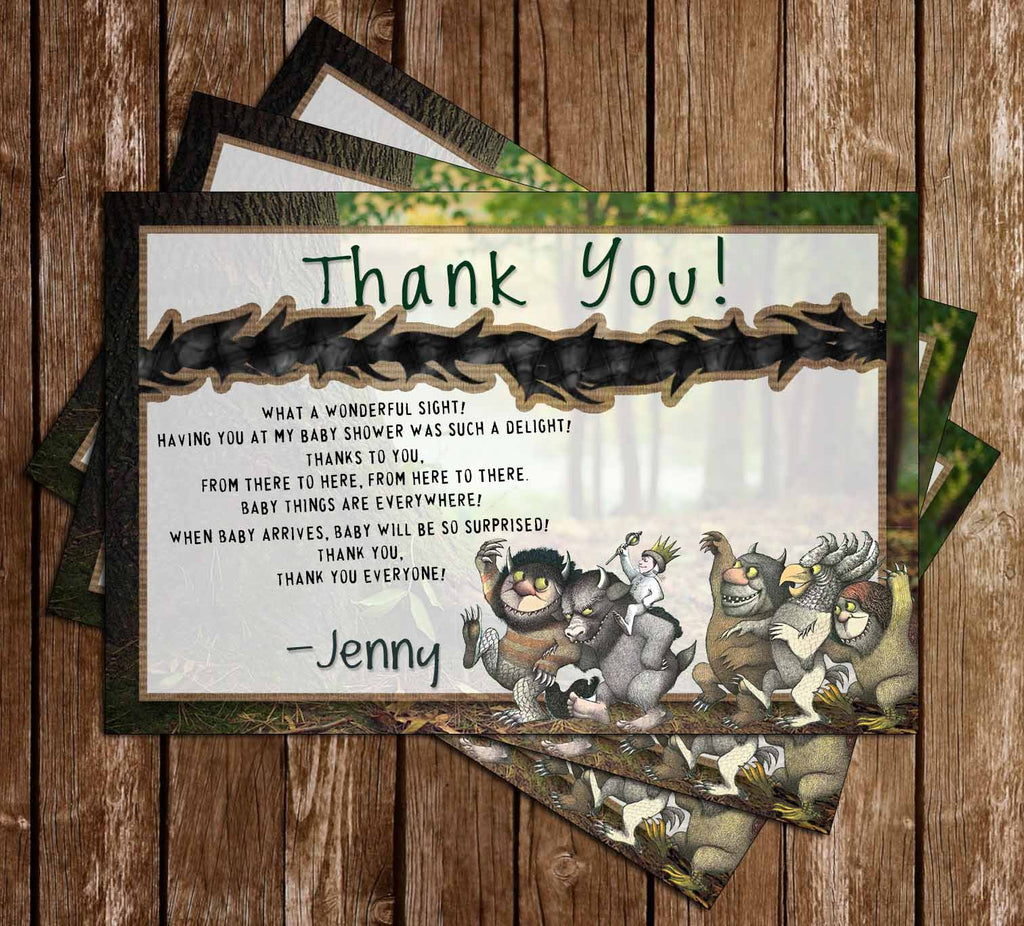 Where the Wild Things Are - Baby Wild Thing - Baby Shower - Thank You Card