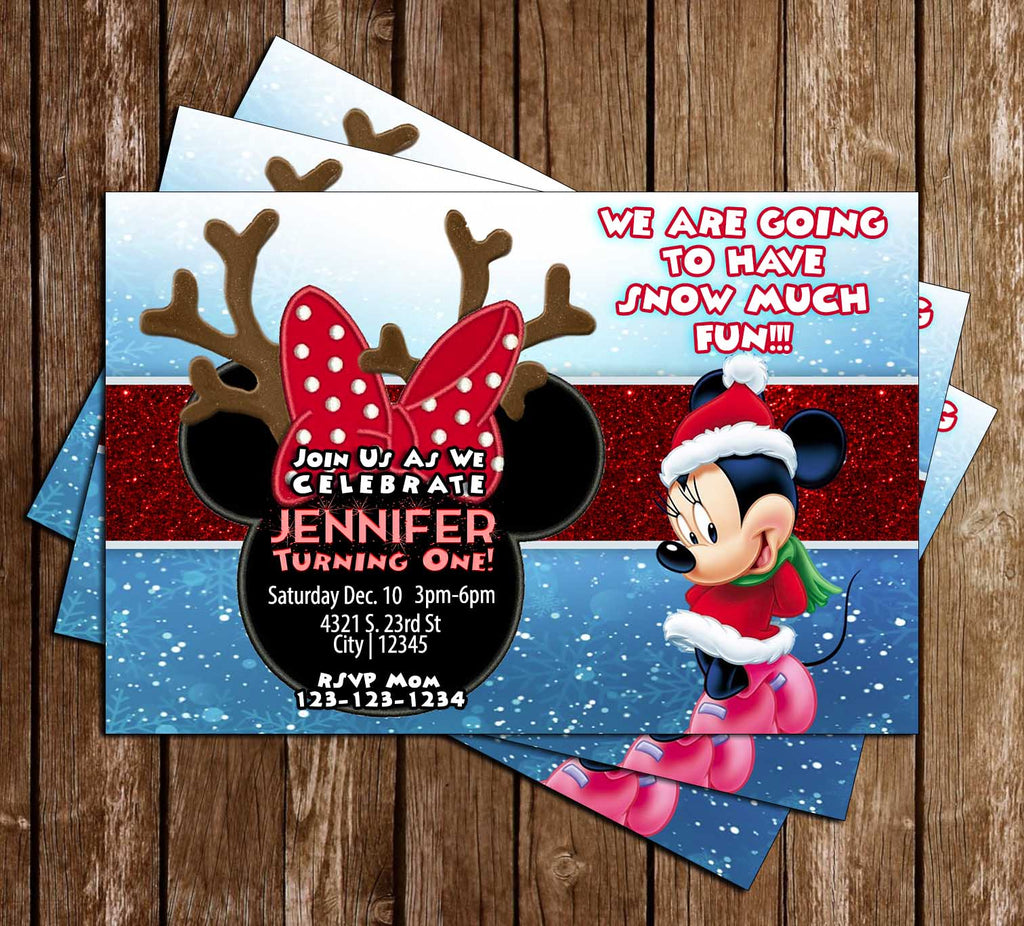 Disney - Minnie Mouse - Winter - Birthday Party - Invitation