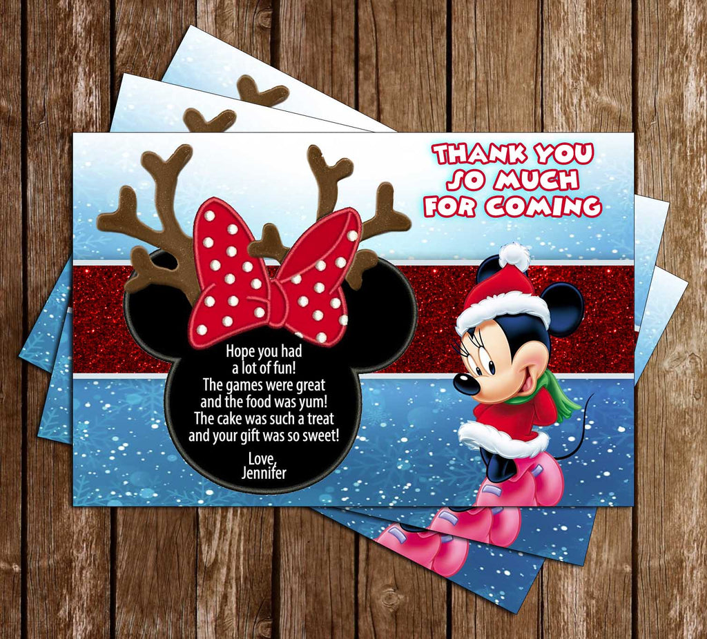 Disney - Minnie Mouse - Winter - Birthday Party - Thank You Card