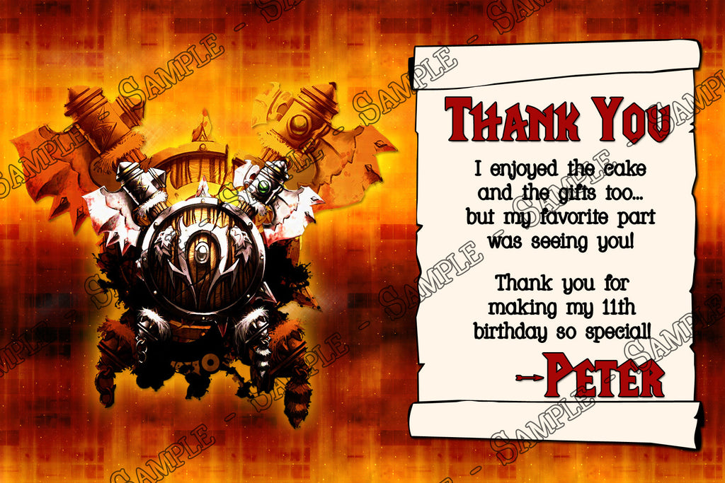 World of Warcraft Video Game Birthday Party Thank You Card