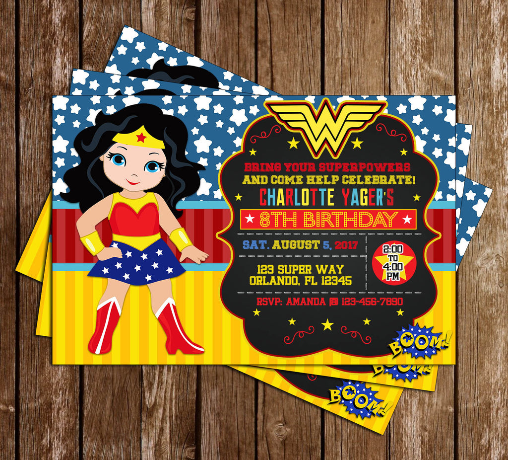 wonder woman superhero birthday party invitation - Superhero Birthday Party Invitations
