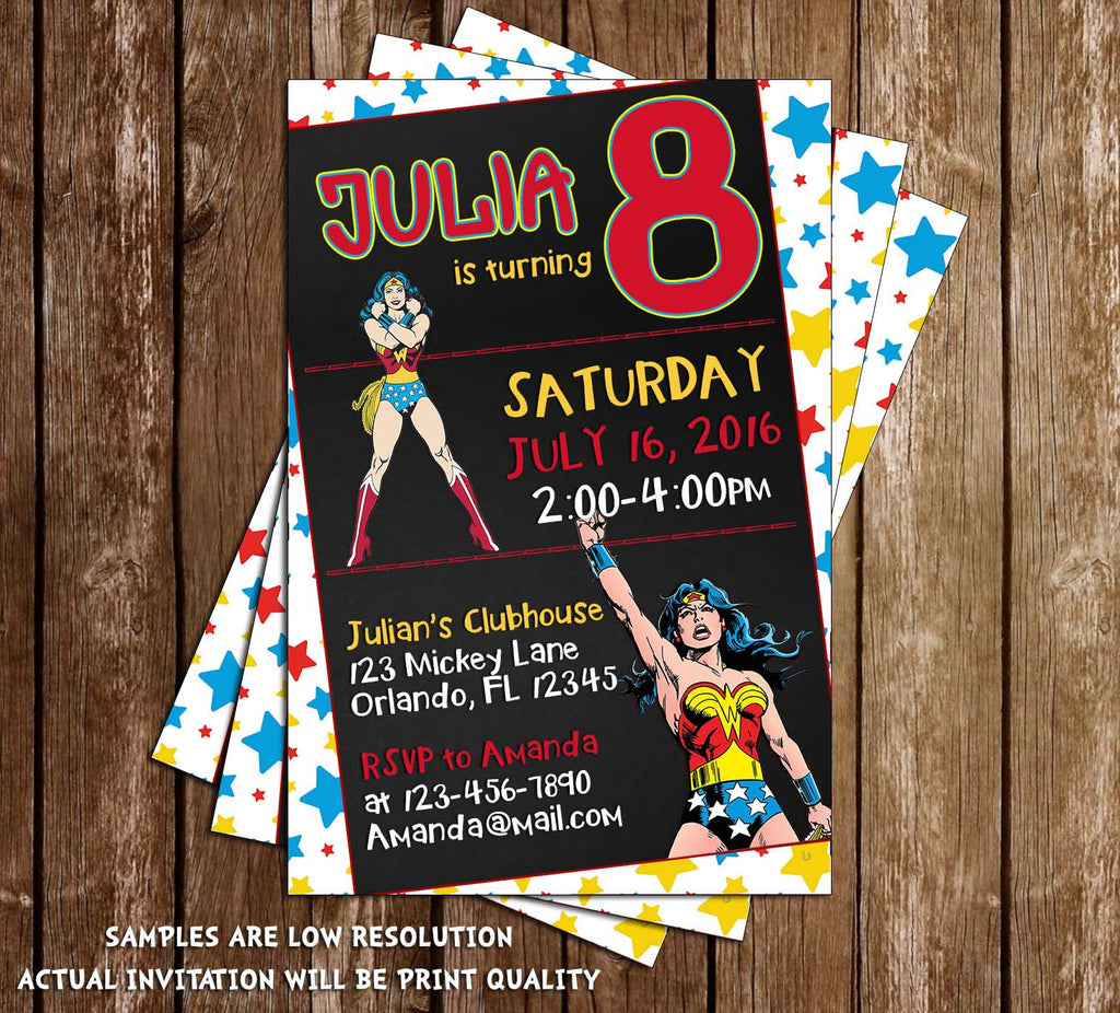 Novel Concept Designs Wonder Woman Comic Book Birthday Party – Book Party Invitation
