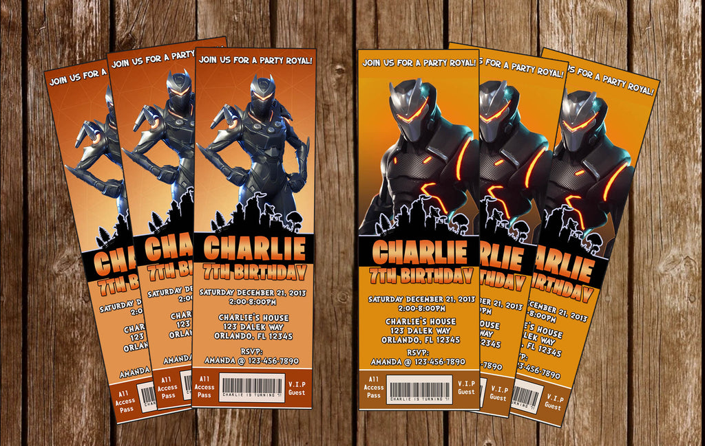 Fortnite - Oblivion / Omega - Birthday Party Ticket - Invitation