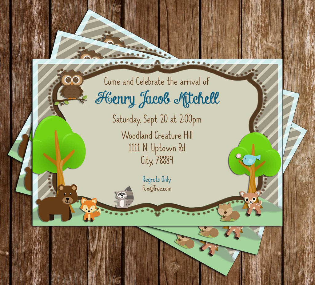 Woodland Animals - Baby Shower - Party - Invitation
