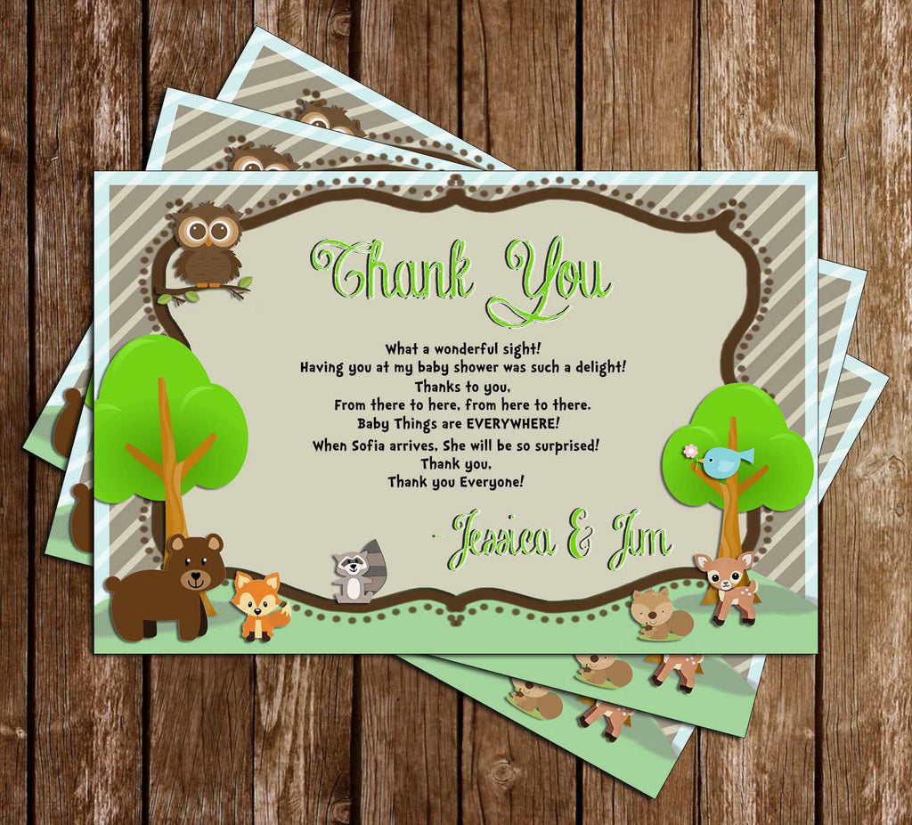 Woodland Animals - Baby Shower - Party - Thank You Card