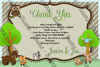 Woodland Animals - Forest - Baby Shower - Party - Thank You Card