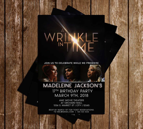 A Wrinkle in Time - Movie - Birthday - Invitation