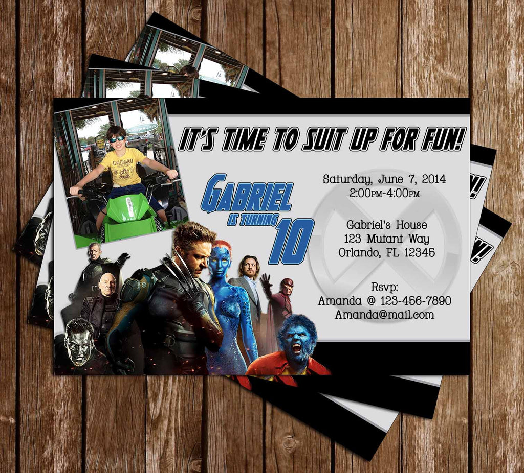 X Men Movie Birthday Invitation with Photo