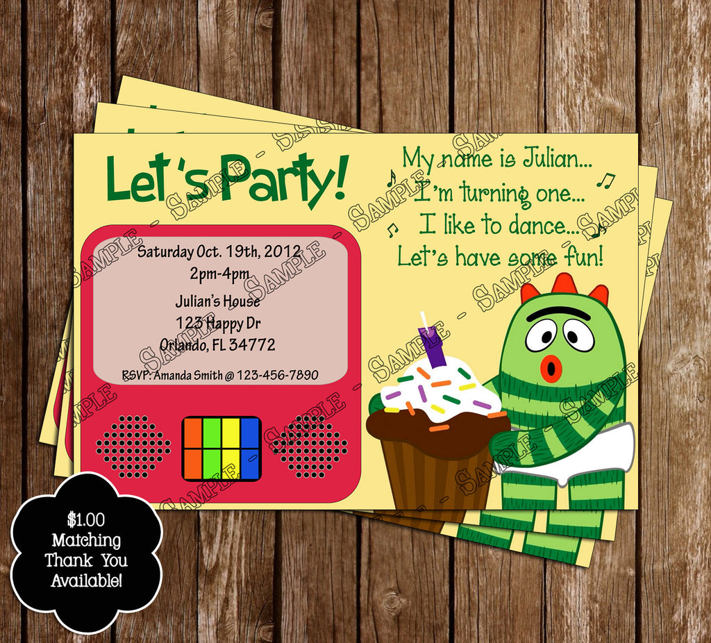 Novel Concept Designs Yo Gabba Gabba Birthday Invitation 2nd