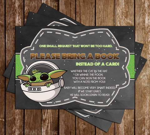 Star Wars - Baby Yoda - Baby Shower - Bring A Book Insert