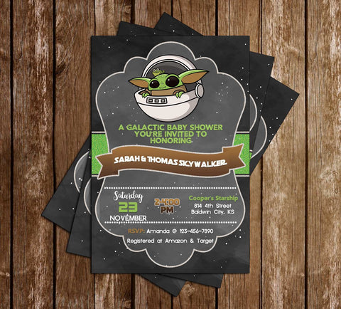 Star Wars - Baby Yoda - Baby Shower - Invitation