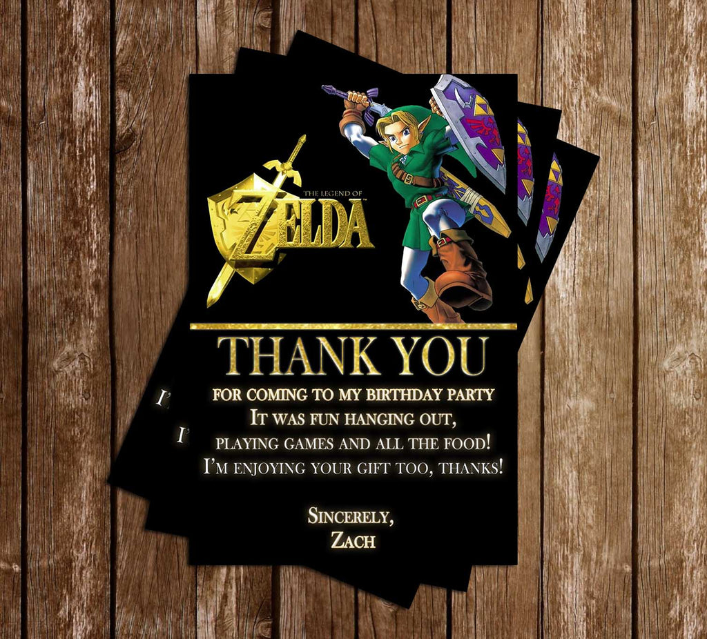 Legend of Zelda - Video Game - Birthday Party - Thank You Card