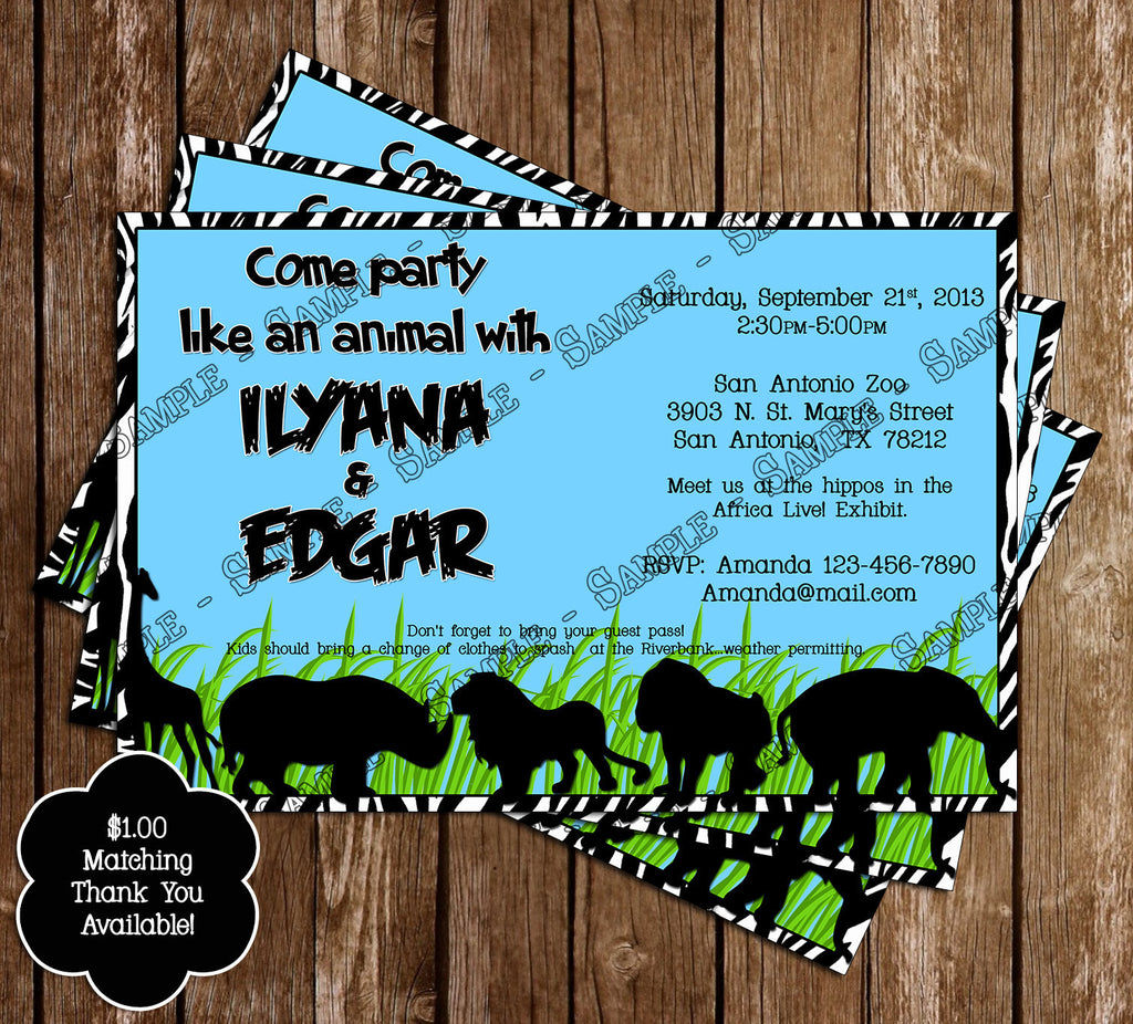 Novel concept designs zoo safari birthday party printable thank zoo safari birthday party printable thank you card thecheapjerseys Images
