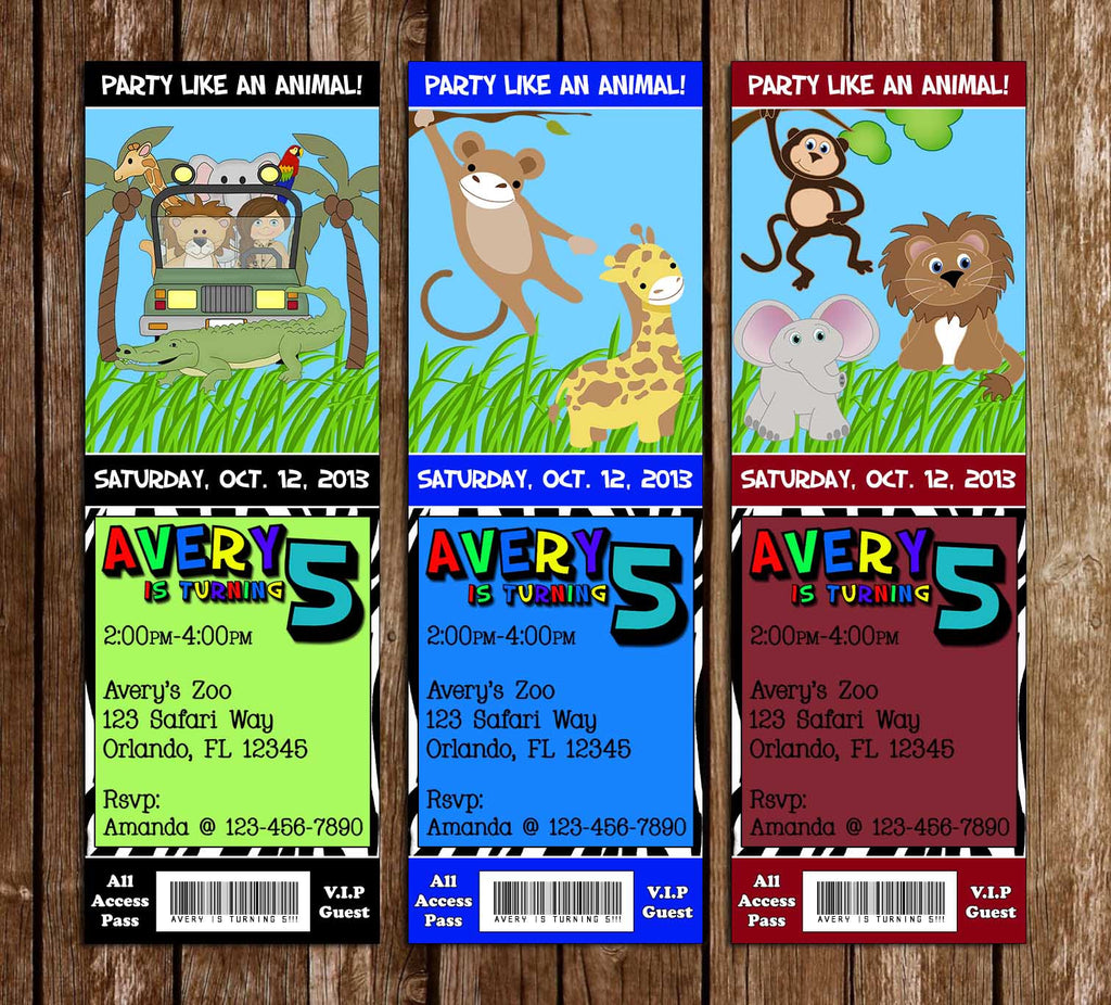 Zoo - Safari Birthday Party Ticket Invitation