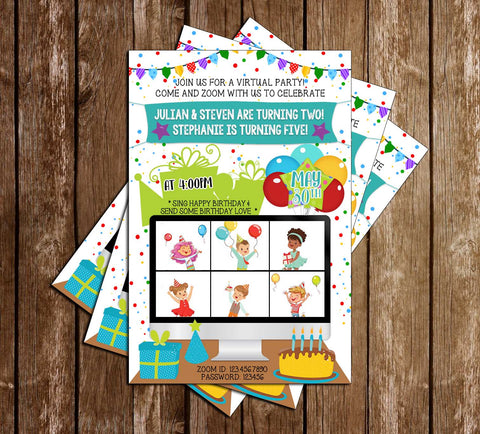 Zoom - Online - MULTIPLE KIDS - Birthday - Party - Invitation