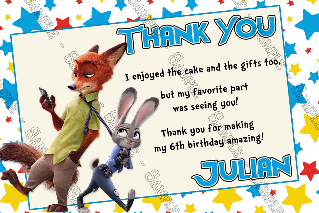 Disney Zootopia Movie Character Birthday Party Ticket Invitations  Party Ticket Invitations
