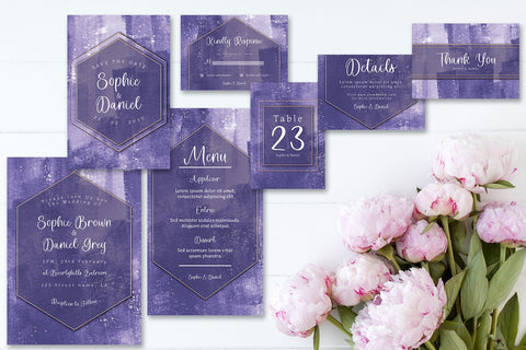 Abstract Modern - Deep Purple - Wedding Invitation - Set