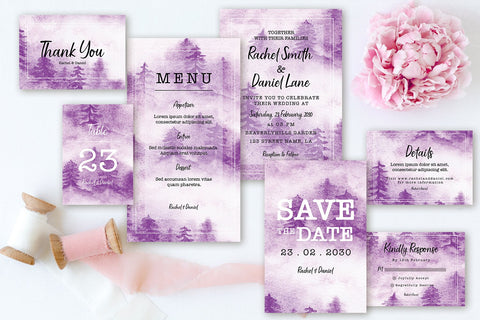Abstract Purple - Misty Pine Forest - Wedding Invitation Set
