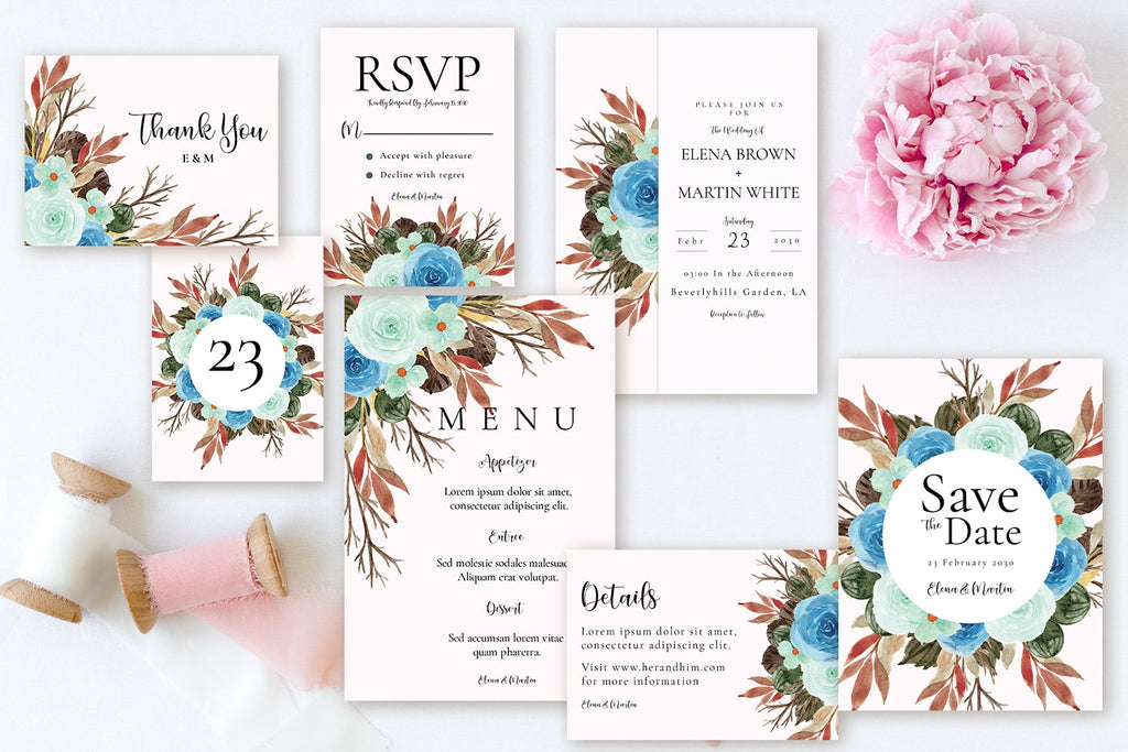 Rustic Blue Green Floral - Wedding Invitation Suite