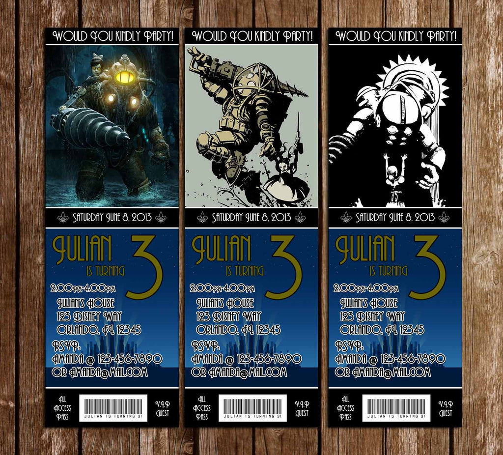 Novel Concept Designs Bioshock Game Birthday Party Ticket – Party Ticket Invitations