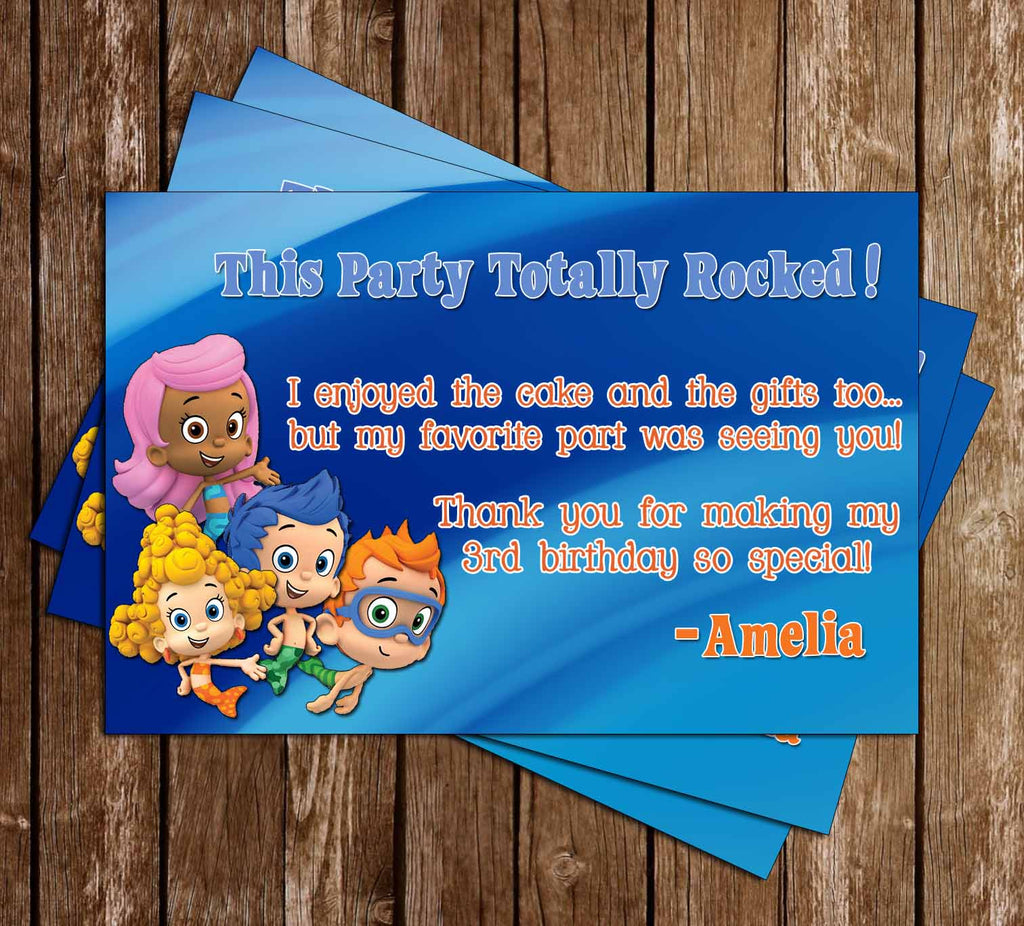 Bubble Guppies Birthday Thank You Card