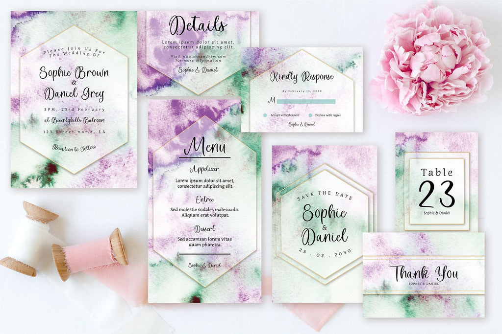Gorgeous Green And Purple Abstract Watercolor - Wedding Invitation Set