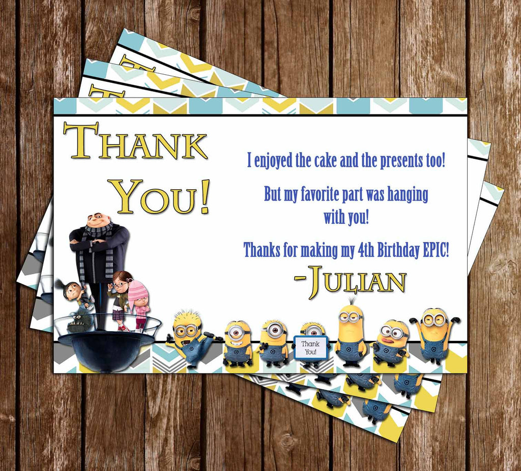 Despicable Me Movie Birthday Thank You Card (Minions)