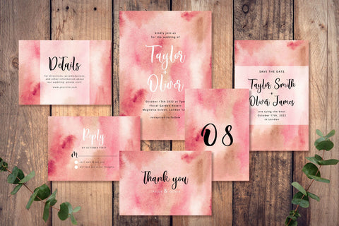 Abstract Pink Background - Wedding Invitation Set