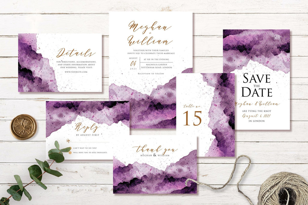 Abstract Purple - Watercolor - Wedding Invitation Set