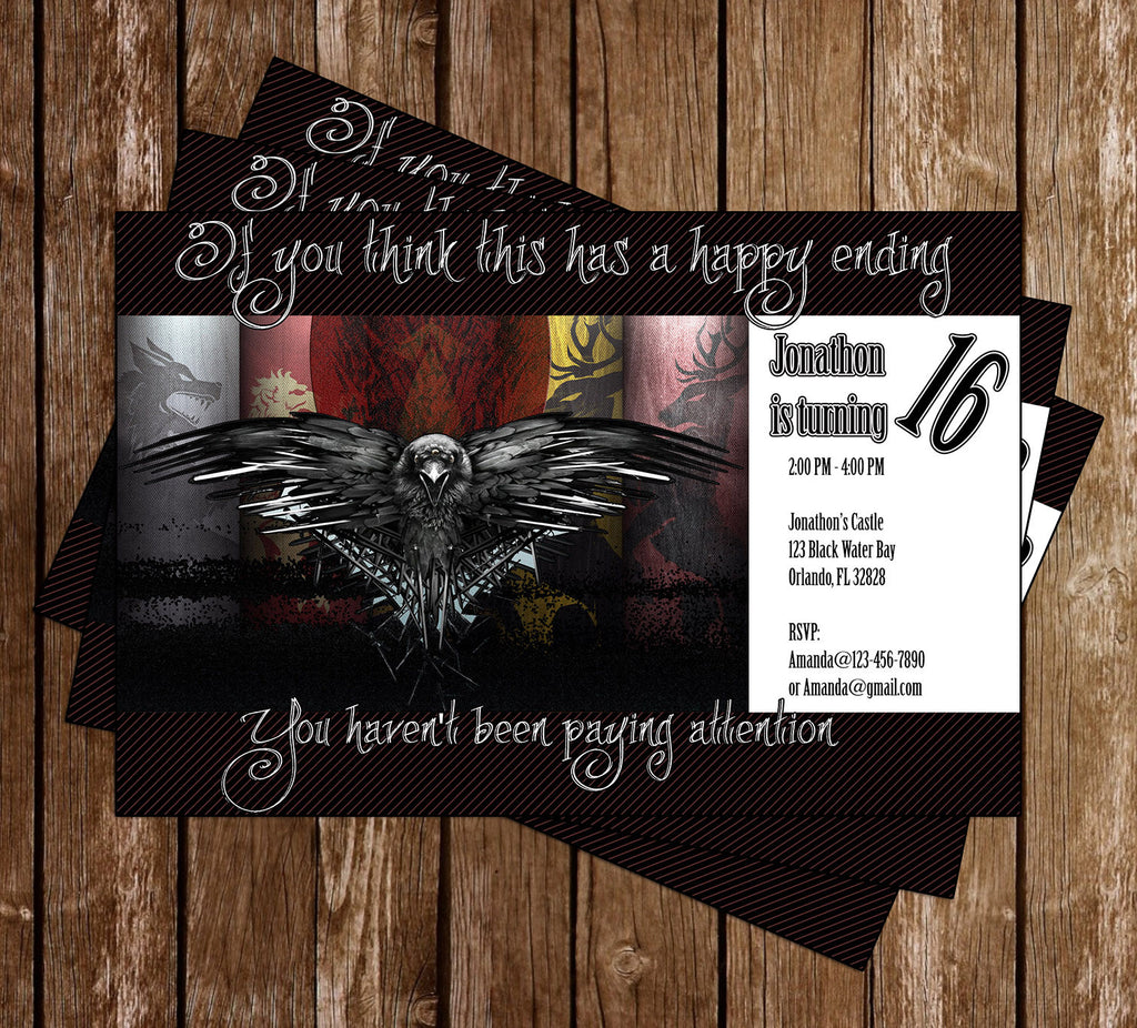 Game of Thrones Birthday Party Invitation Memevitation