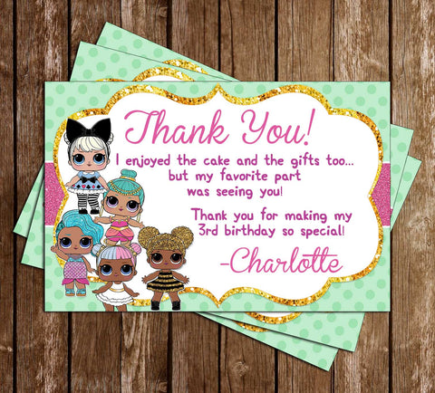 LOL Dolls - Green & Pink - Birthday Party - Thank You Card