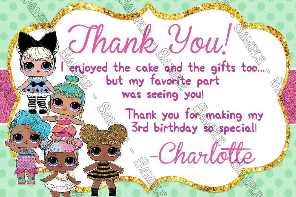 Novel Concept Designs Lol Dolls Birthday Party Thank You Card