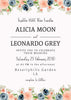 Lovely Peach And Indigo Floral - Wedding Invitation Set