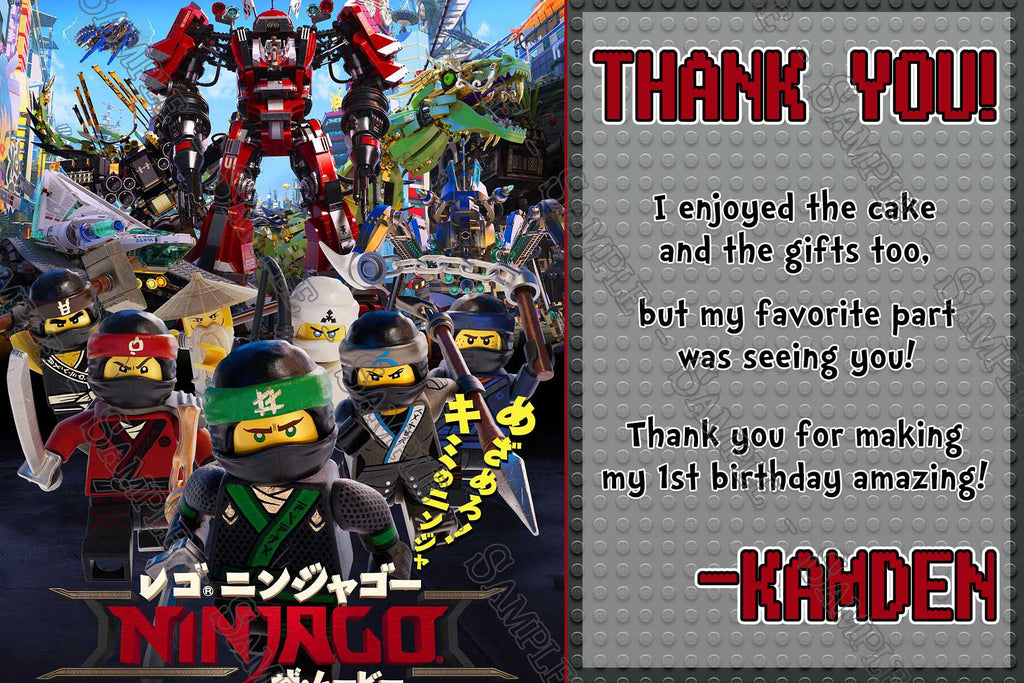 Novel Concept Designs Lego Ninjago Movie Birthday Thank You Card