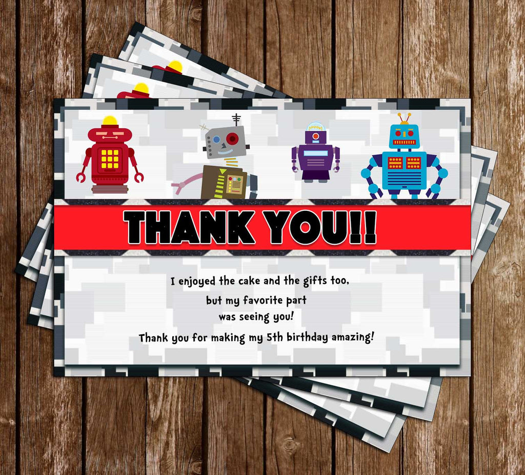 Robot - Building - Technology - Birthday Party - Thank You Card