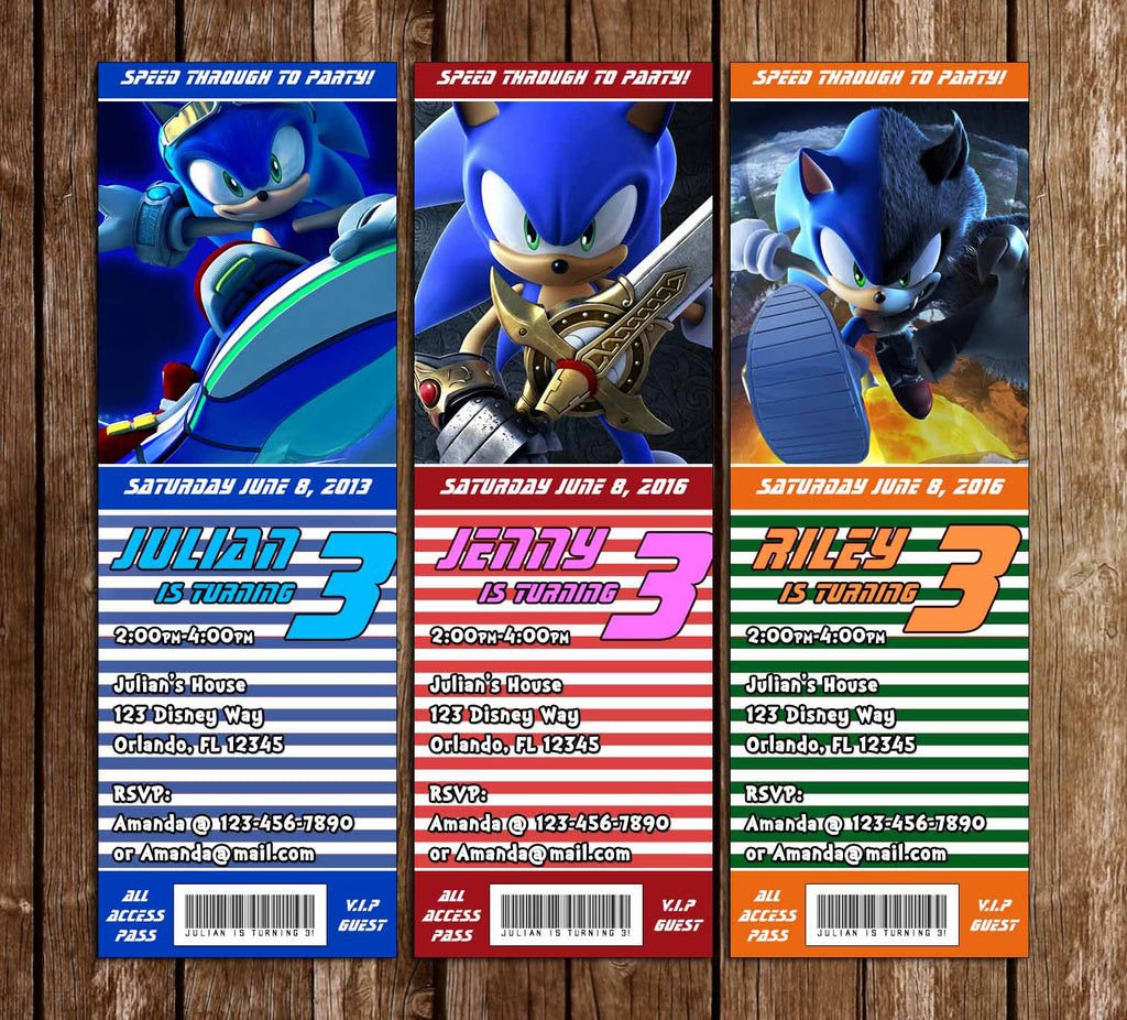 Sonic The Hedgehog Birthday Party Ticket Invitation Novel Concept Designs