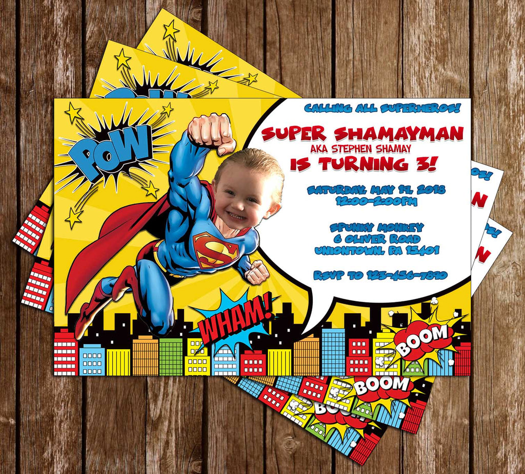Superman - Comic Book - Birthday Party - Invitation
