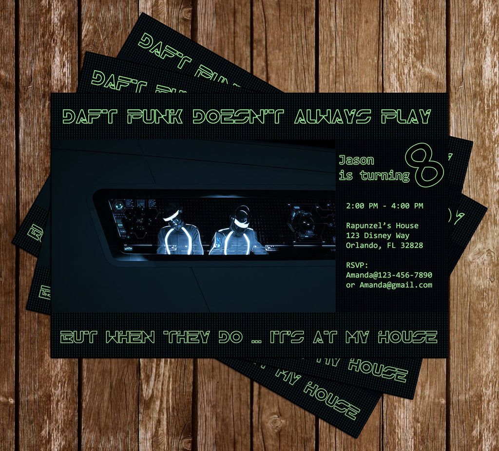 Disney Tron Daft Punk Birthday Party Invitation Memevitation