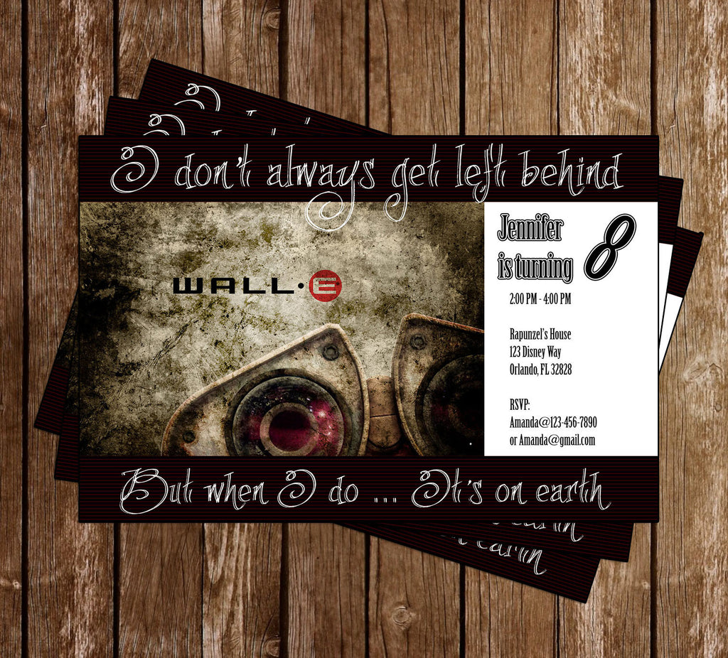 Wall E Birthday Party Invitation Memevitation